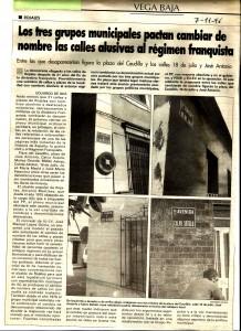 Artículo de la prensa provincial del año 1996