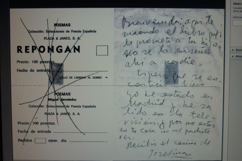 Nota manuscrita de Josefina Manresa