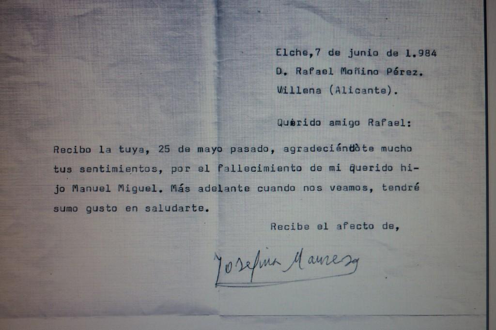 Carta de Josefina Manresa tras la muerte de su hijo