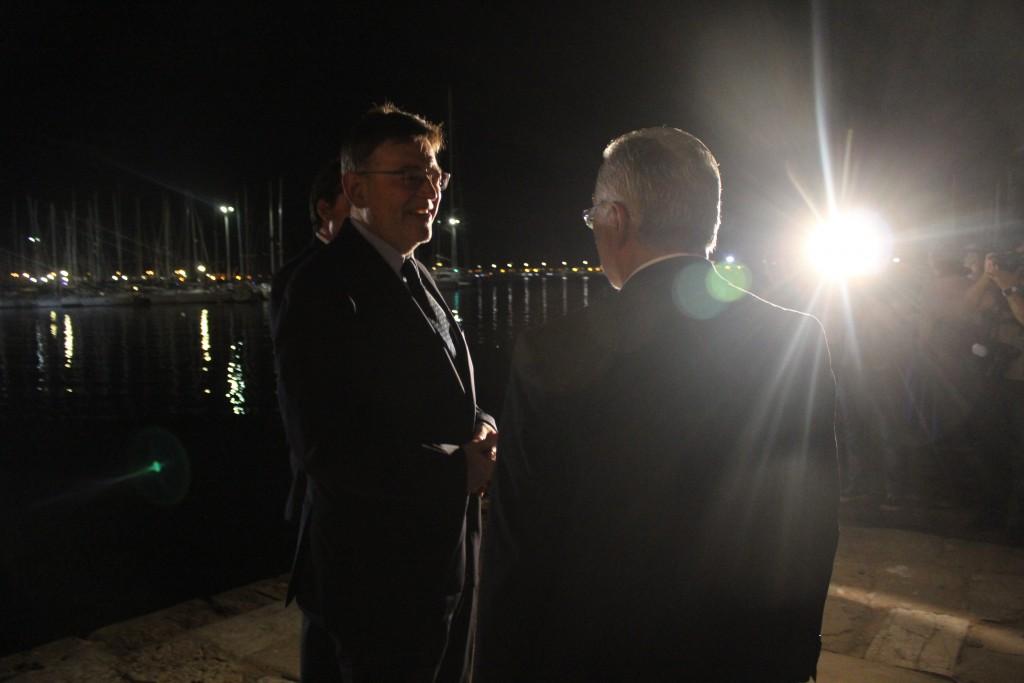Ximo Puig y José Manuel Dolón anoche en Torrevieja