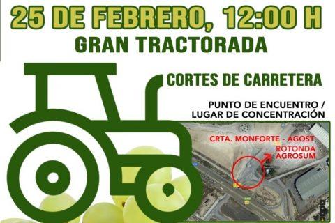 LA UNIÓ anima a los agricultores y sociedad alicantina a participar en la gran tractorada del próximo martes en la comarca del Vinalopó